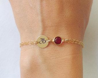 Om bracelet, Ohm bracelet, Personalized Om bracelet, Spiritual jewelry, Yoga jewelry, Gold om jewelry, Birthstone bracelet Om charm bracelet