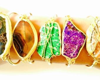 Gold Cuff Bracelet, Natural Stone with gold edged Bangle