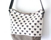 crossbody bag - black cat screen print with leather strap