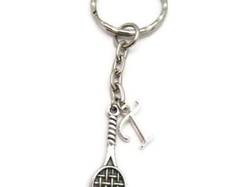 Tennis Racket Keychain Initial Tennis Keychain Customized Gift Sports Keychain Tennis Player Gift Sports Lover  Personalized Letter Keychain