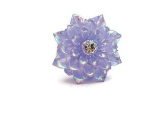 Purple Flower Ring Kawaii Adjustable Ring Lavender Flower Ring Shiny Statement Ring Dahlia Ring  Mum Ring Cosplay Mum Jewelry Flower Jewelry