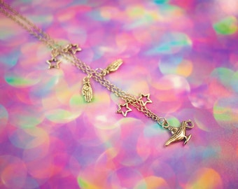 Genie Lamp Necklace, Star Chain Choker, Hand Necklace, Star Necklace, Chain Necklace, Charm Necklace, Gifts for Her, Pastel Goth Clothing