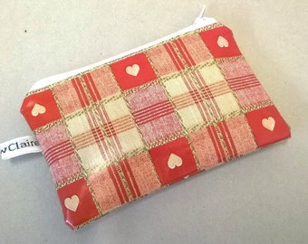 Coin purse in red with hearts, Oilcloth change purse, Credit card wallet, small zipped pouch