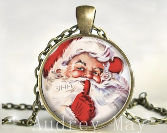 Christmas Necklace,Pendant,Jewelry,Santa,Victorian,Vintage,Gift for Her,Holiday,Old Fashioned, Gift, Picture, Glass,Dome,Art, Print