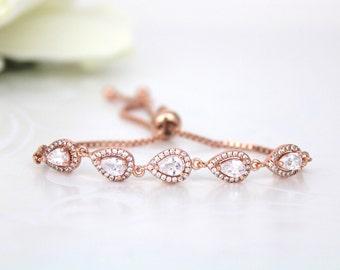 Crystal Bridal bracelet, Rose Gold bracelet, Adjustable bracelet, Bridesmaid bracelet, Wedding jewelry, Wedding bracelet, Bangle bracelet