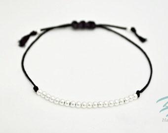 925 Sterling Silver Adjustable Cord Bracelet