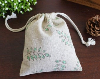 Handmade cotton linen bag green twig/blue floral custom size and print available