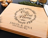 Personalized Engraved Cutting Board Our First Home Chopping Block ~Wedding Engagement Anniversary housewarming Gift for couple real estate
