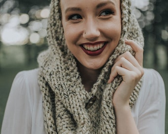 Knit Hooded Cowl, Infinity Scarf with Hood, Winter Hooded Cowl, Handmade Knitted Chunky Wool Hooded Cowl / / THE TUNDRA - Oatmeal