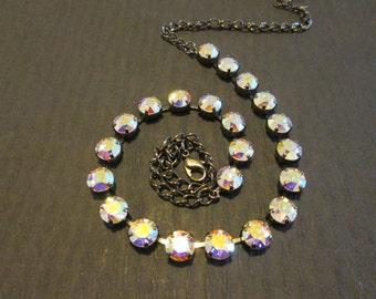 Swarovski Crystal AB Necklace/Swarovski AB Statement Necklace/Tennis Necklace/Gunmetal Swarovski  AB Necklace/Rainbow Crystal Necklace