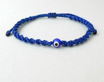 Blue evil eye Royal blue macrame bracelet Greek eye,round glass bead,modern greek jewelry,mati bracelet,nazar,summer bracelet,beach bracelet