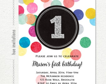 first birthday invitation silver glitter one, rainbow confetti 1st birthday invitation for girl or boy, printable birthday party invite 170