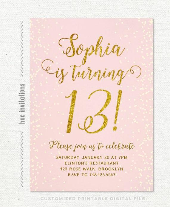 13th birthday invitation for girl pink gold teen birthday