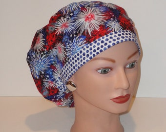 European Style Scrub Hat....Fireworks/Red/White/Blue w/Dotted Band...Surgical Hats/OR Scrub Hats