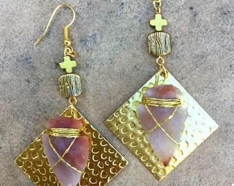 Handmade Arrowhead Earrings, Tribal earrings, Wire wrap, Boho, Dangle, Festival, Celebrity, Native, Cross, UNIQUE (Nativelicious Earrings)