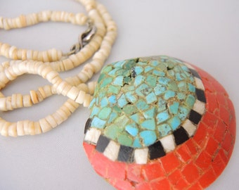 OLD Santa Domingo Tribe CLAM SHELL Turquoise Coral Jet Shell Inlay Heishi Necklace Rare dr7