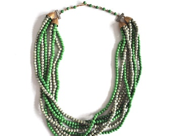 Vintage Multi Strand Green Beaded Necklace