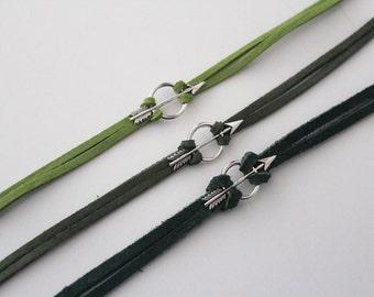 Oliver Queen Green Arrow Bracelet - DC Comic Inspired Jewelry - Silver Arrow Charm Bracelet - Comic Book Jewelry - Super hero Nerd Geek Gift