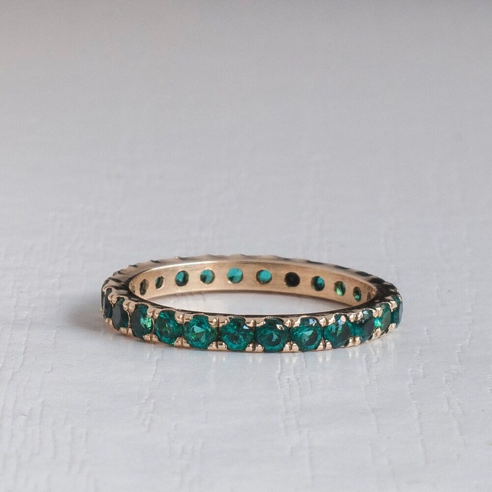 Blue Emerald Eternity Ring