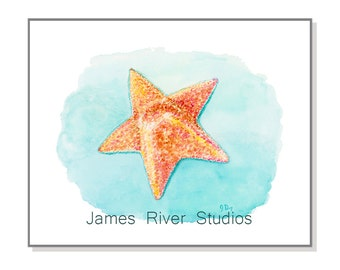 Starfish Art Starfish Painting Starfish Print From Original Starfish Watercolor Painting. Starfish Beach Art Beach Decor Ocean Decor Print.