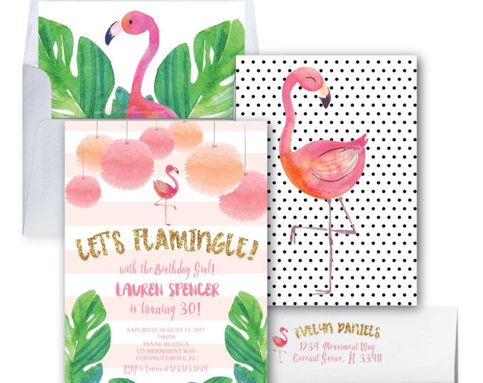 Flamingo Birthday Invitation // Let's Flamingle Invitation // Gold Glitter //  30th Birthday Party / Watercolor / COCONUT GROVE COLLECTION