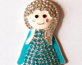 Elsa Inspired Rhinestone Pendant