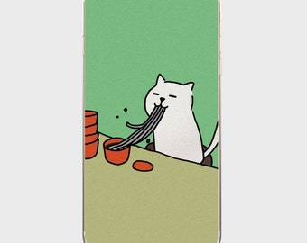 17 colors to choose For Cat Person collection cat theme cute green base white cat eating noodle cute iPhone case