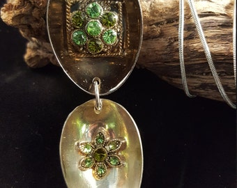 Spoon pendent necklace with green crystal insert (Spoon theory)