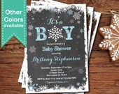 Winter baby boy shower invitation. Blue chalkboard or kraft paper snowflakes couple baby shower invitation for boy. It's a boy. XB01