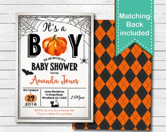 Halloween baby shower invitation. Fall pumpkin couples baby shower digital invitate. Orange, black, spider web, black cat, bat. HA021