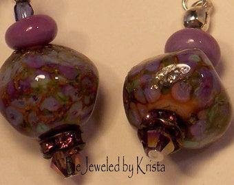 Lampwork Purple Glass Bead and Swarovski Crystal Earrings