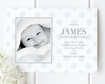 Baby Boy Polka Dot Birth Announcement | Photo Birth Announcement Card