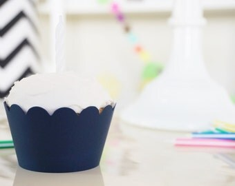 NAVY BLUE Cupcake Wrappers - Set of 24
