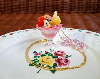 Pink Whipped Cream Parfait Cup Necklace