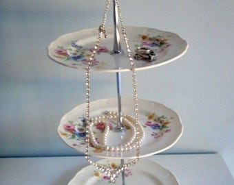 3 Tier Vintage Plate Tidbit Stand, Appetizer Stand, Candy Stand, Jewelry Stand, Floral Plate Stand