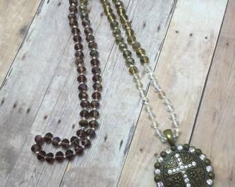 Beaded Cross Necklace Long Boho Necklace Statement Beaded Necklace Crystal Necklace  Cross Pendant Crystal  Boho Jewelry Hand Knot necklace