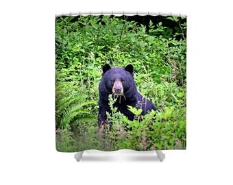 Bear Shower Curtain, Bear Decor, Black Bear, Wildlife Decor, Animal Shower Curtain, Animal Bathroom, Nature Decor, Woodland Animals, Forest