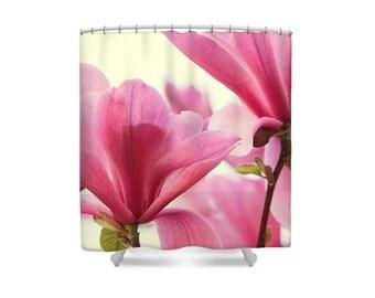 Pink Shower Curtain, Pink Bathroom Decor, Magnolias, Pink and White Decor, Womens Bathroom, Flower Bathroom, Floral Bathroom, Bath Decor