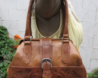 Tooled Leather Bag Force Ten American West Metal Frame Satchel Southwest Cowboy Cowgirl Purse Handbag Tote 1980s 80s