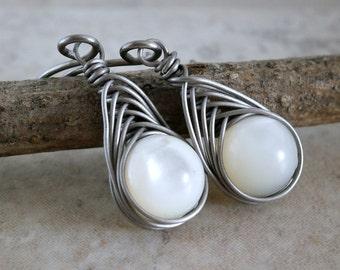Hypoallergenic Earrings Titanium Mother of Pearl Earrings Copper Wire Wrapped Earrings Handmade Gem Wire Earrings Mother of Pearl Jewelry
