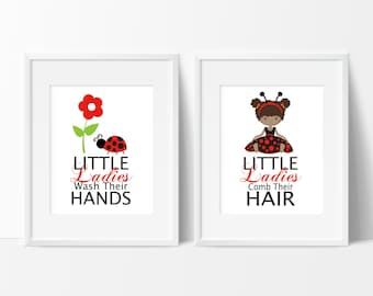 Ladybug Bathroom Prints Girls Bathroom Decor Little Ladybugs Bathroom Rules Girls Bathroom