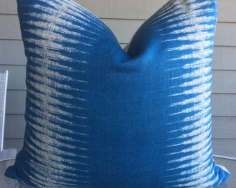Peter Dunham Pillow Cover in Blue and Oatmeal Ikat Zig Zag