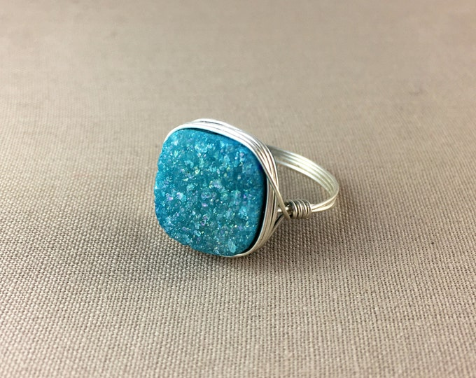 Blue Druzy Ring // Square Druzy Ring, square ring, gemstone ring, jewelry under 25, wire wrapped ring, drusy ring, sterling silver ring