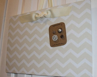 "Magnet Board (12"" x 18"") Fabric Magnetic Board Cream and White Chevron Photo Display, Organization, Bulletin Board, Wedding photo display"