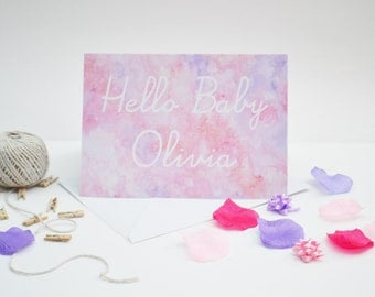 Personalised 'Hello baby' Card Pink