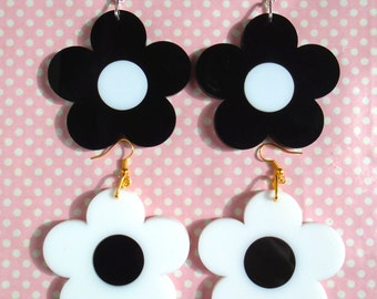 Flower power black and white double layered laser cut earrings