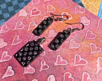Fused Glass Jewelry Set with Dots