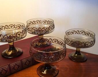Set of four Libbey Prado champagne or sherbet glasses