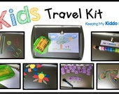 Kids Travel Kit - Educational Activities for Traveling - Car Trip - Airplane - Magnetic Alphabet - Blocks - Tray