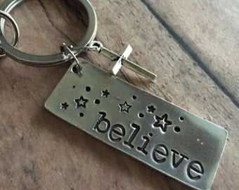 Believe Key Chain, Cross Keychain, Stars Key Chain, Hand Stamped Keychain, Gifts for Him, Gifts for Her, RCIA Gift, Confirmation Gift